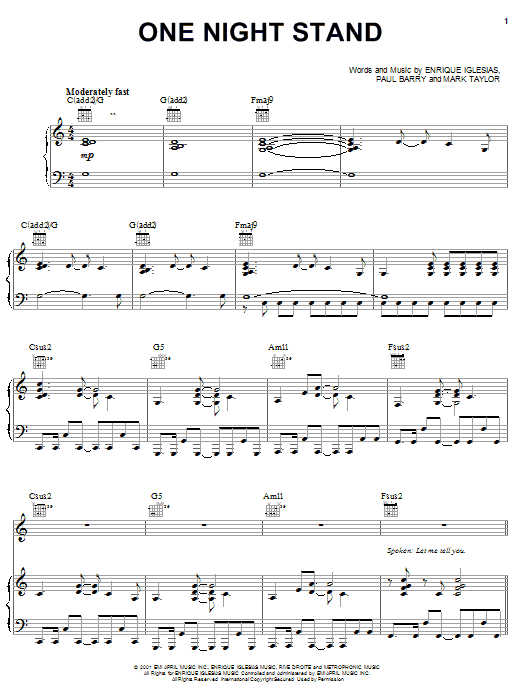 Enrique Iglesias One Night Stand sheet music notes and chords