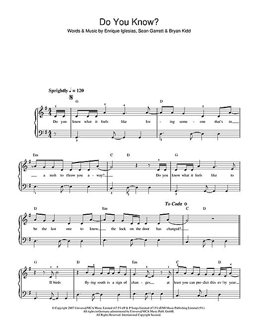 Enrique Inglesias Do You Know? sheet music notes and chords