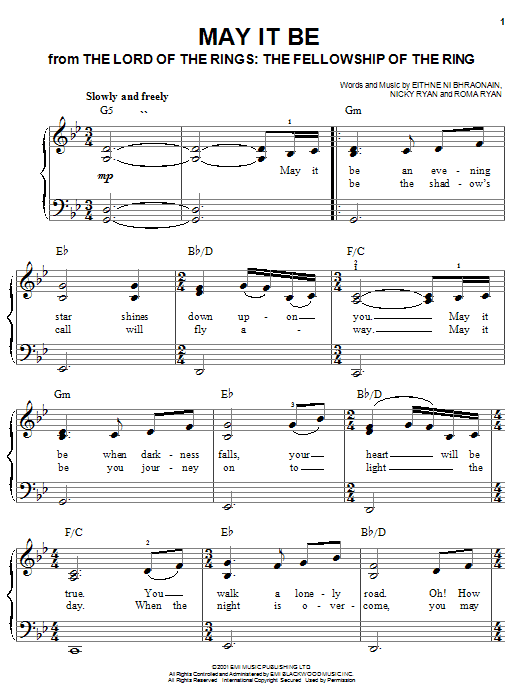 Enya May It Be (from Lord Of The Rings: The Fellowship of the Ring) sheet music notes and chords. Download Printable PDF.