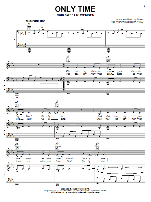 Enya Only Time Sheet Music Notes Chords Download Printable Piano Solo Sku 55269