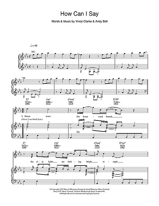 Erasure How Can I Say sheet music notes and chords. Download Printable PDF.
