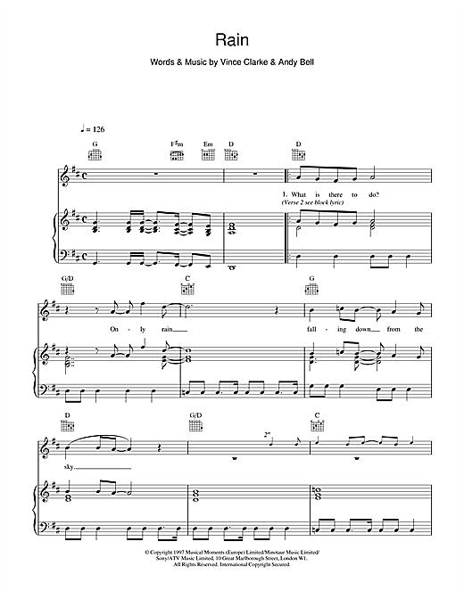 Erasure Rain sheet music notes and chords. Download Printable PDF.