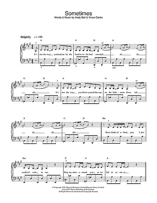 Erasure Sometimes sheet music notes and chords. Download Printable PDF.