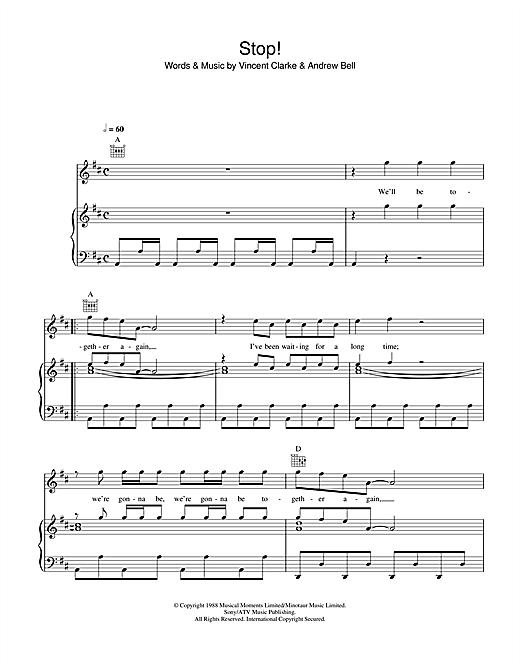 Erasure Stop sheet music notes and chords. Download Printable PDF.