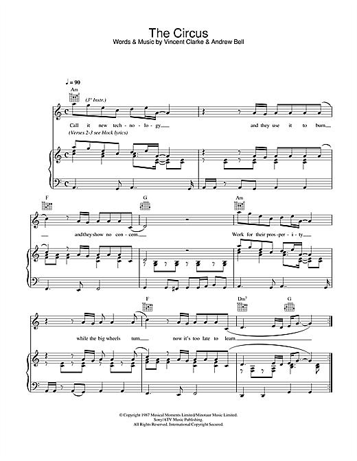 Erasure The Circus sheet music notes and chords. Download Printable PDF.
