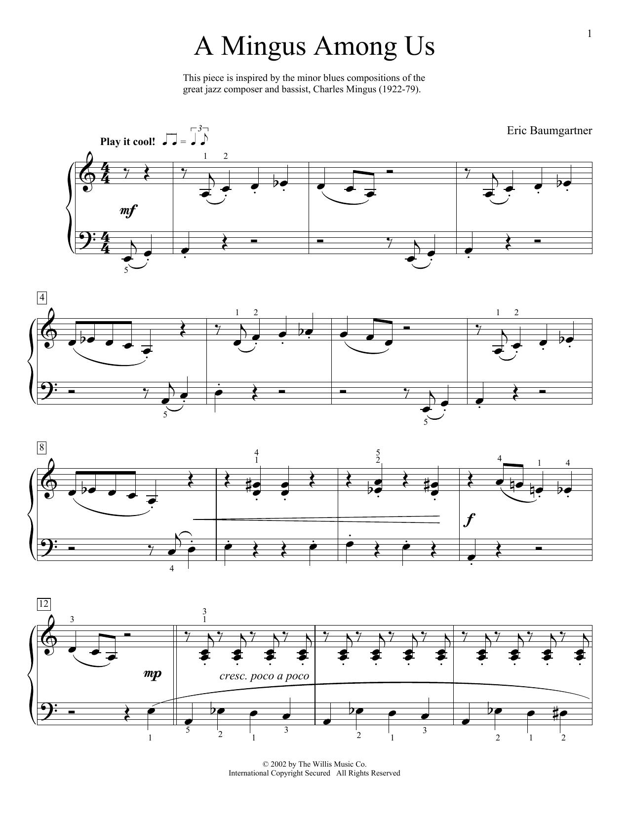 Eric Baumgartner A Mingus Among Us sheet music notes and chords. Download Printable PDF.