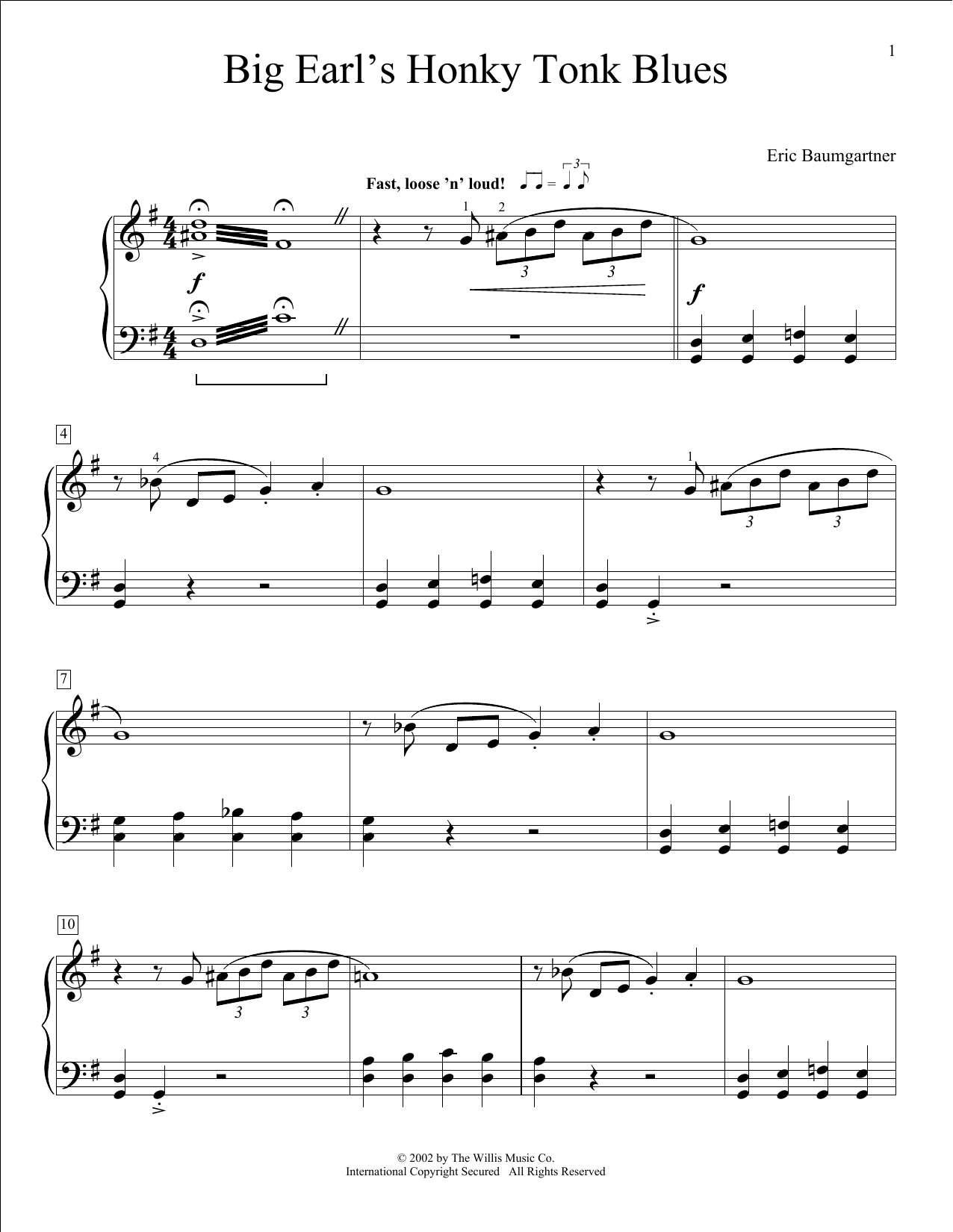 Eric Baumgartner Big Earl's Honky-Tonk Blues sheet music notes and chords. Download Printable PDF.