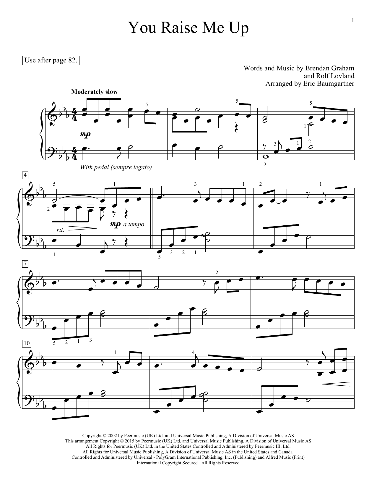 Eric Baumgartner You Raise Me Up Sheet Music Notes Chords Download Printable Educational Piano Sku 158499