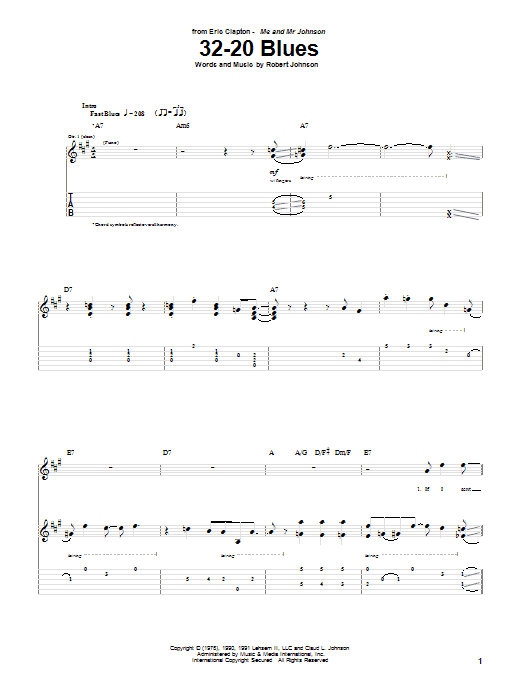 Eric Clapton 32-20 Blues sheet music notes and chords. Download Printable PDF.