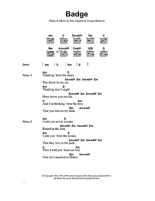 Eric Clapton Badge sheet music notes and chords