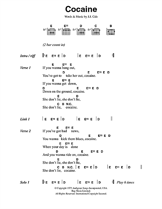 Eric Clapton Cocaine sheet music notes and chords