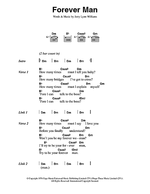 Eric Clapton Forever Man sheet music notes and chords
