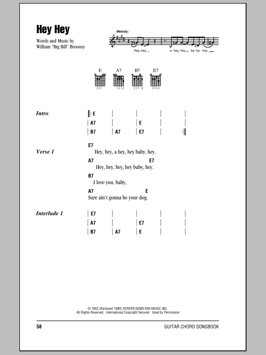 Eric Clapton Hey Hey sheet music notes and chords. Download Printable PDF.