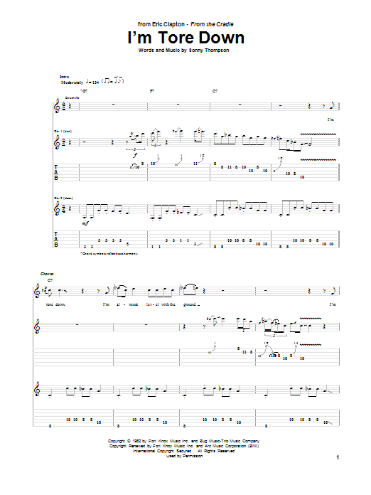 Eric Clapton I'm Tore Down sheet music notes and chords. Download Printable PDF.