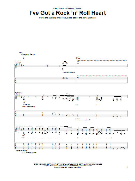 Eric Clapton I've Got A Rock 'N' Roll Heart sheet music notes and chords. Download Printable PDF.