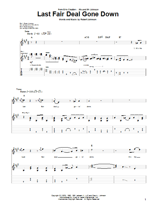Eric Clapton Last Fair Deal Gone Down sheet music notes and chords. Download Printable PDF.