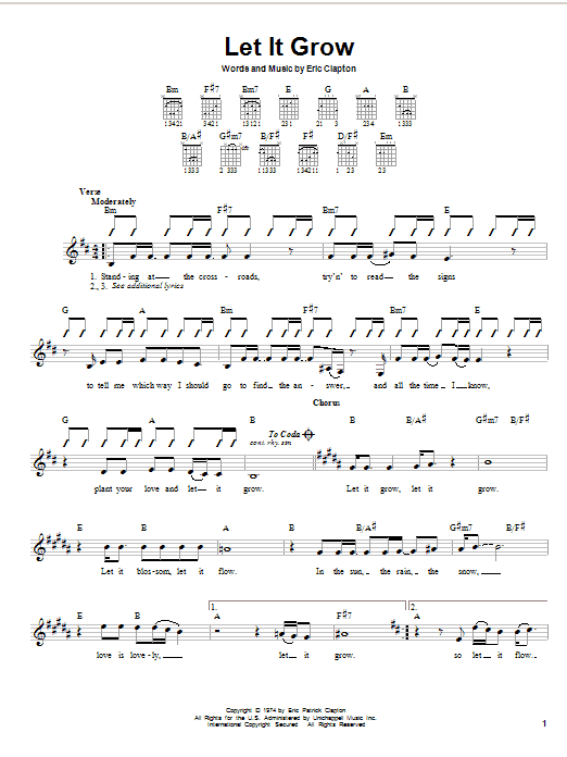 Eric Clapton Let It Grow sheet music notes and chords