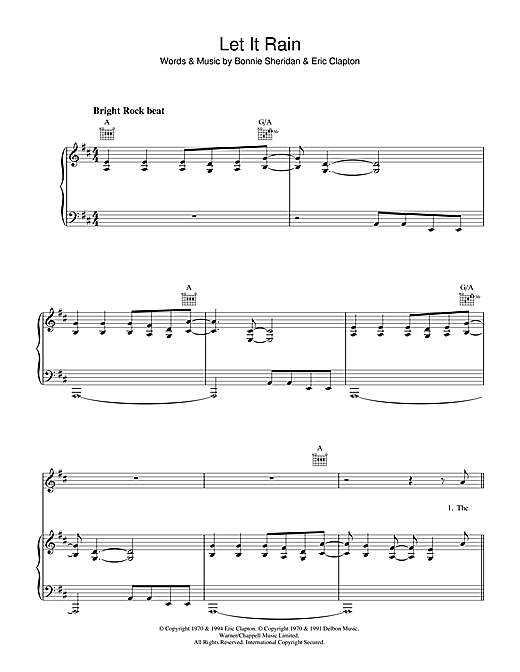 Eric Clapton Let It Rain sheet music notes and chords. Download Printable PDF.