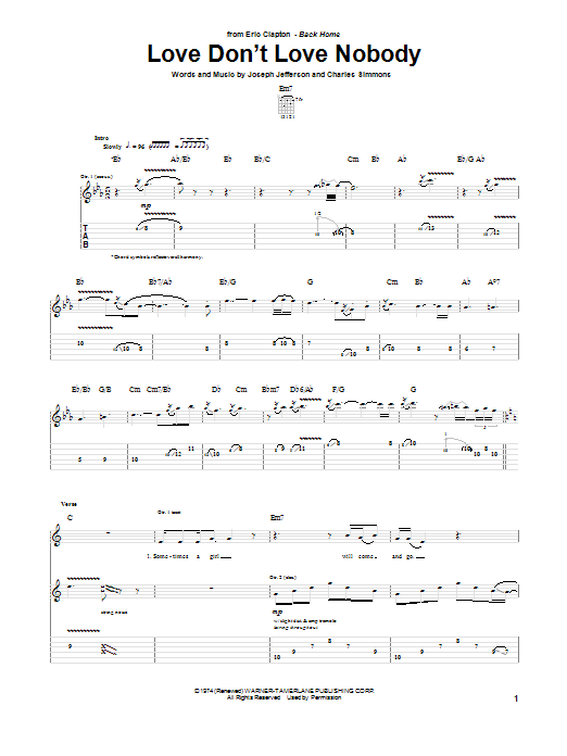 Eric Clapton Love Don't Love Nobody sheet music notes and chords. Download Printable PDF.