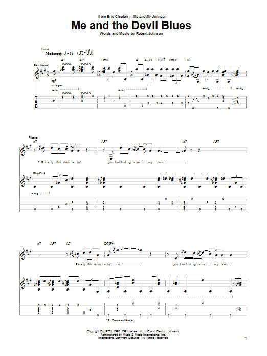 Eric Clapton Me And The Devil Blues sheet music notes and chords. Download Printable PDF.