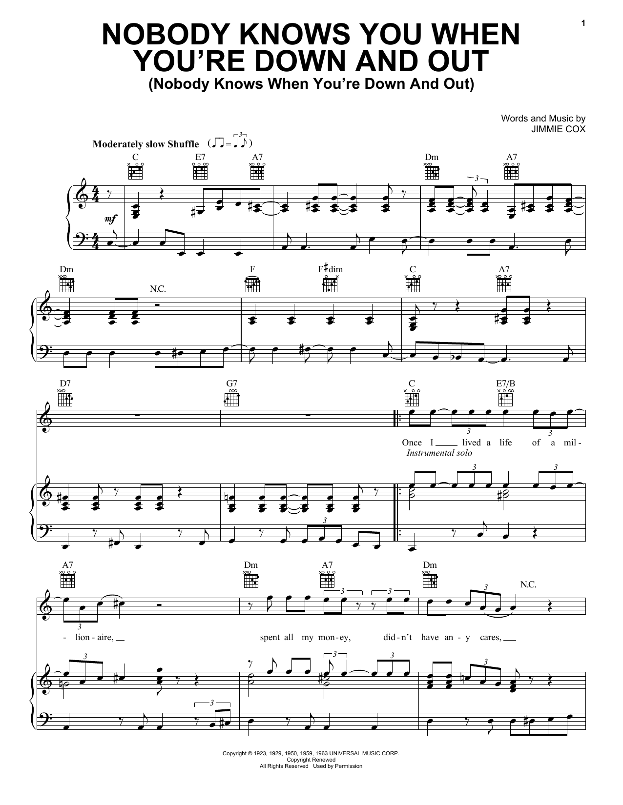 Eric Clapton Nobody Knows You When You're Down And Out Nobody Knows When  You're Down And Out Sheet Music Notes, Chords   Download Printable Piano,  ...
