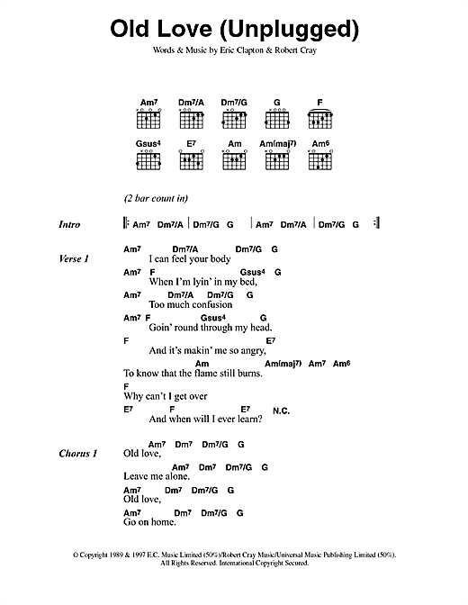 Eric Clapton Old Love sheet music notes and chords