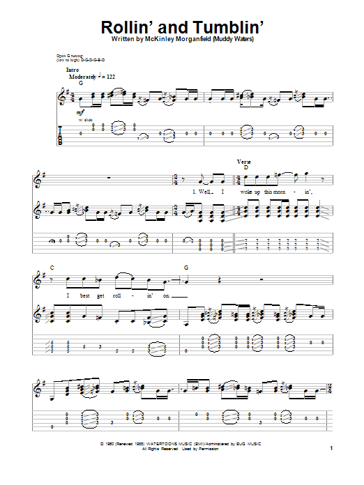 Eric Clapton Rollin' And Tumblin' sheet music notes and chords. Download Printable PDF.