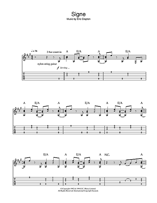 Eric Clapton Signe sheet music notes and chords. Download Printable PDF.