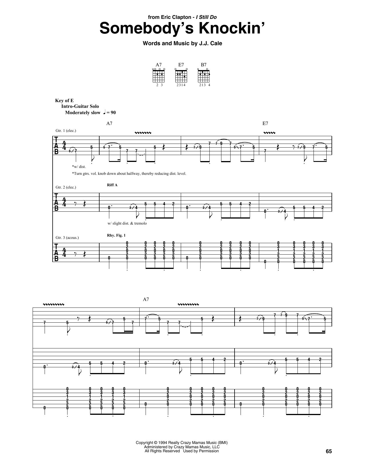 Eric Clapton Somebody's Knockin' sheet music notes and chords. Download Printable PDF.