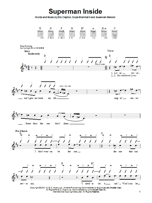Eric Clapton Superman Inside sheet music notes and chords. Download Printable PDF.