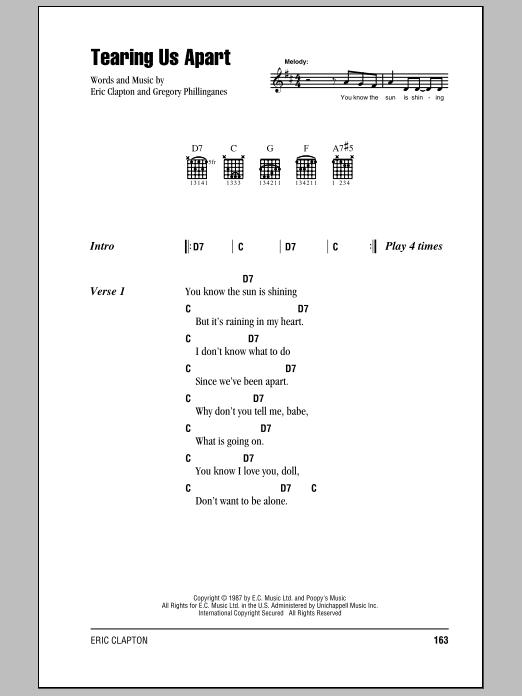 Eric Clapton Tearing Us Apart sheet music notes and chords. Download Printable PDF.
