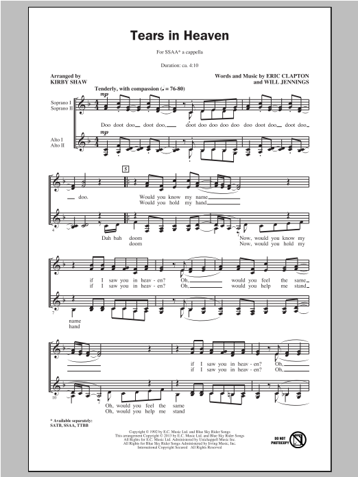 Eric Clapton 'Tears In Heaven (arr  Kirby Shaw)' Sheet Music Notes, Chords  | Download Printable SATB Choir - SKU: 97002