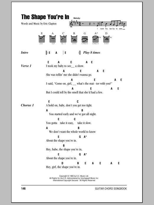 Eric Clapton The Shape You're In sheet music notes and chords. Download Printable PDF.