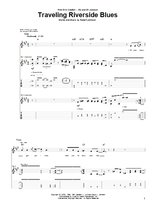 Eric Clapton Traveling Riverside Blues sheet music notes and chords. Download Printable PDF.