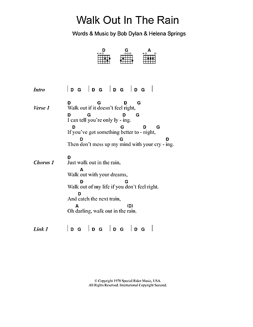 Eric Clapton Walk Out In The Rain sheet music notes and chords. Download Printable PDF.