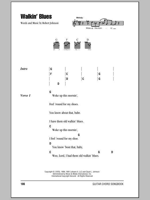 Eric Clapton Walkin' Blues sheet music notes and chords. Download Printable PDF.