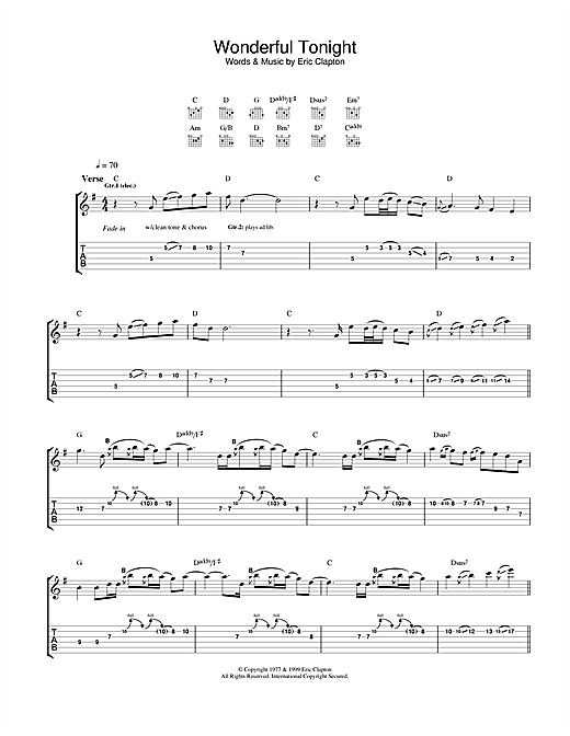 Eric Clapton Wonderful Tonight (from 'The Story Of Us') sheet music notes and chords