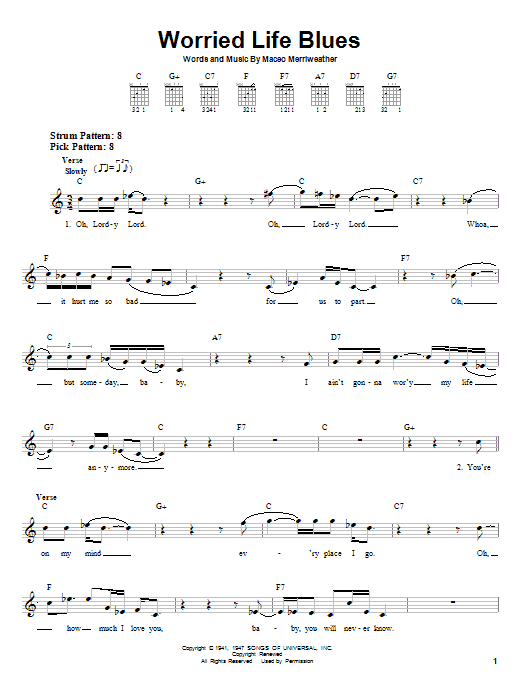 Eric Clapton Worried Life Blues sheet music notes and chords. Download Printable PDF.