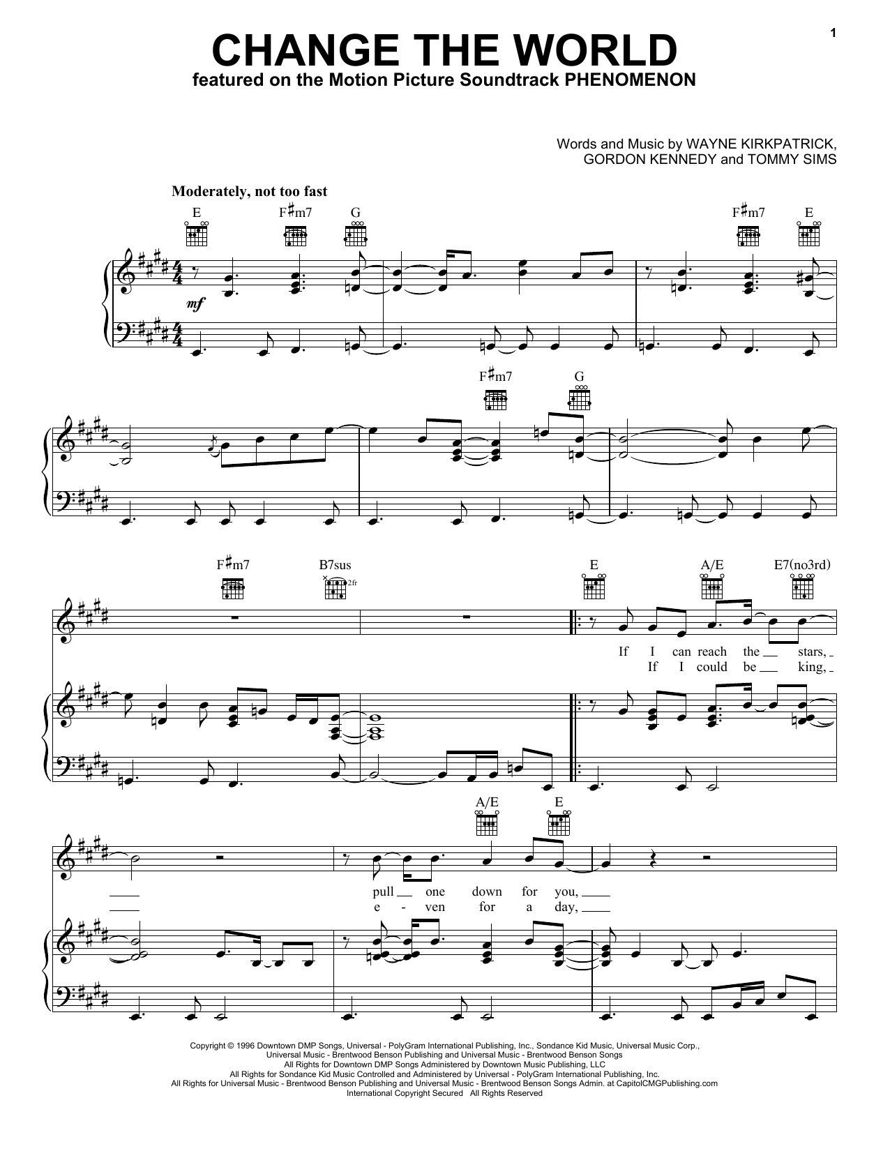 Eric Clapton with Wynonna Change The World sheet music notes and chords