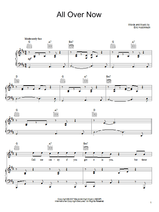 Eric Hutchinson All Over Now sheet music notes and chords. Download Printable PDF.