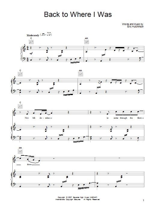 Eric Hutchinson Back To Where I Was sheet music notes and chords. Download Printable PDF.