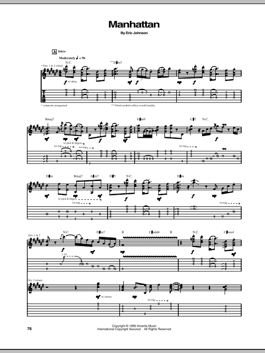 Eric Johnson Manhattan sheet music notes and chords. Download Printable PDF.