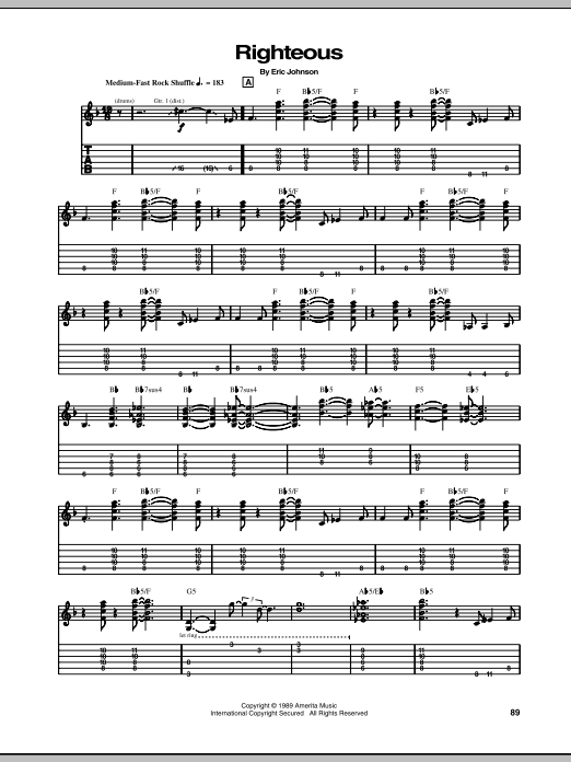 Eric Johnson Righteous sheet music notes and chords. Download Printable PDF.
