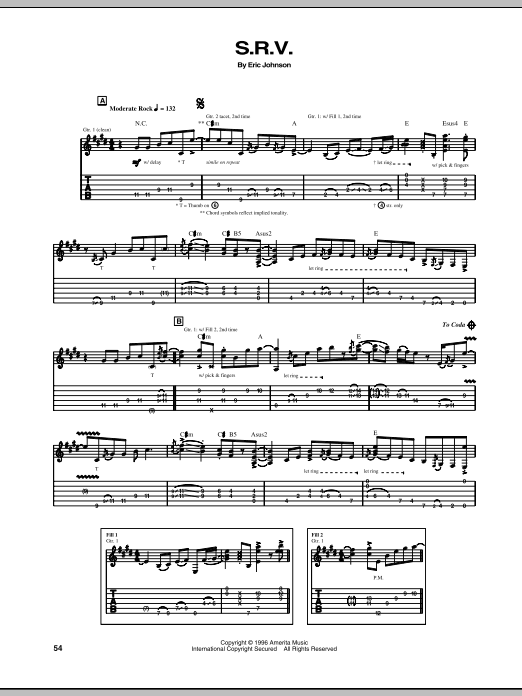 Eric Johnson S.R.V. sheet music notes and chords. Download Printable PDF.