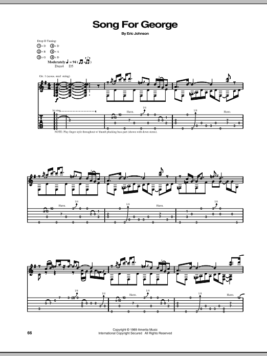 Eric Johnson Song For George sheet music notes and chords. Download Printable PDF.
