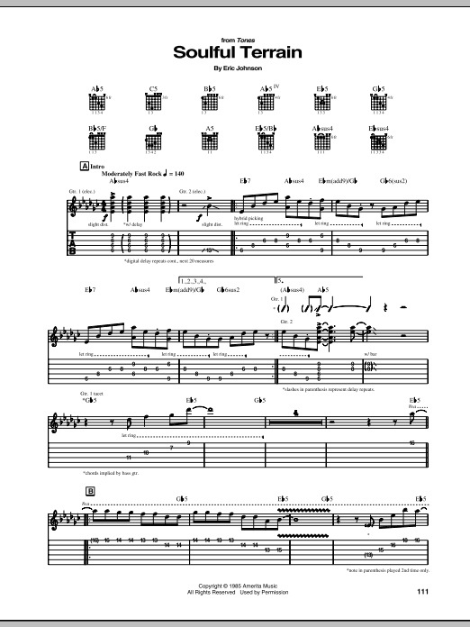 Eric Johnson Soulful Terrain sheet music notes and chords. Download Printable PDF.