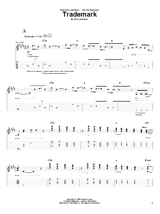 Eric Johnson Trademark sheet music notes and chords. Download Printable PDF.
