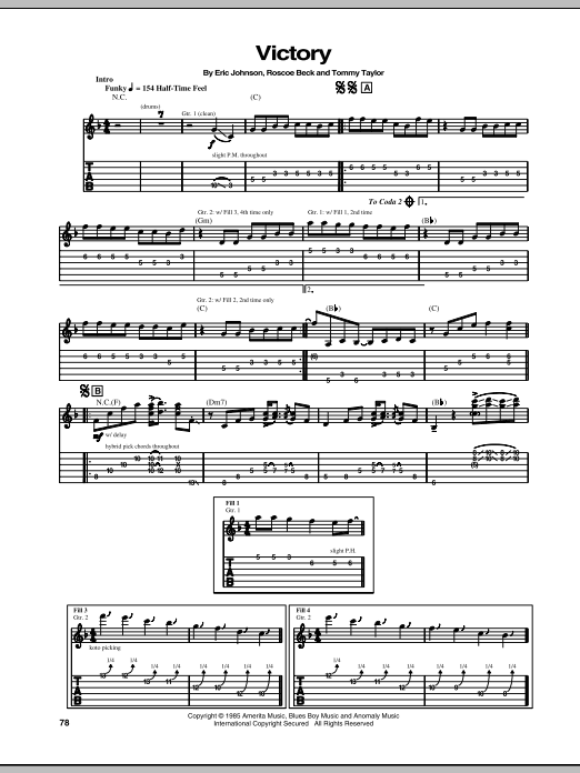 Eric Johnson Victory sheet music notes and chords. Download Printable PDF.