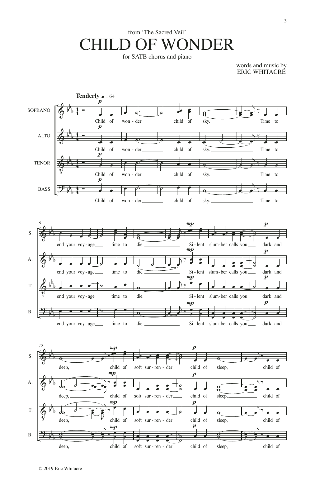 Eric Whitacre Child Of Wonder (from The Sacred Veil) sheet music notes and chords. Download Printable PDF.