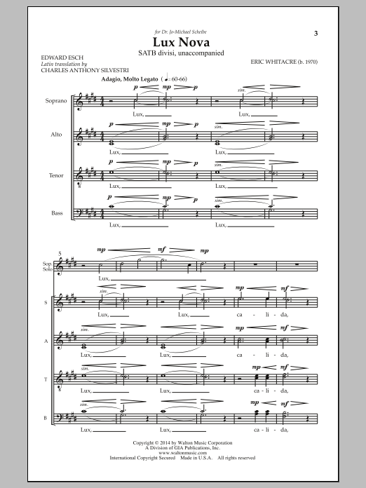 Eric Whitacre Lux Nova sheet music notes and chords. Download Printable PDF.
